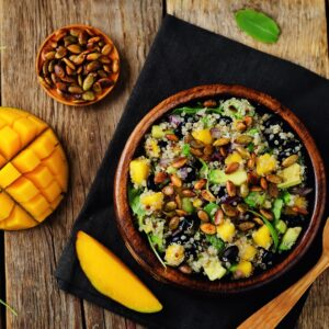 quinoa lentil salad with mango vegan and vegetarian