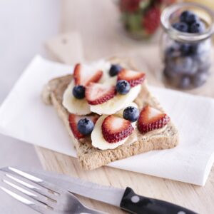 quick and easy nut butter toast recipe with fruit and bakers delight wholemeal bread