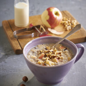 a quick and easy quinoa porridge with apples and hazelnuts