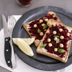 bakers delight tahini, beetroot and chickpea toast